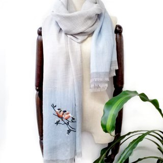 super fine 300s cashmere hand embroidered  scarf  - birds and flowers