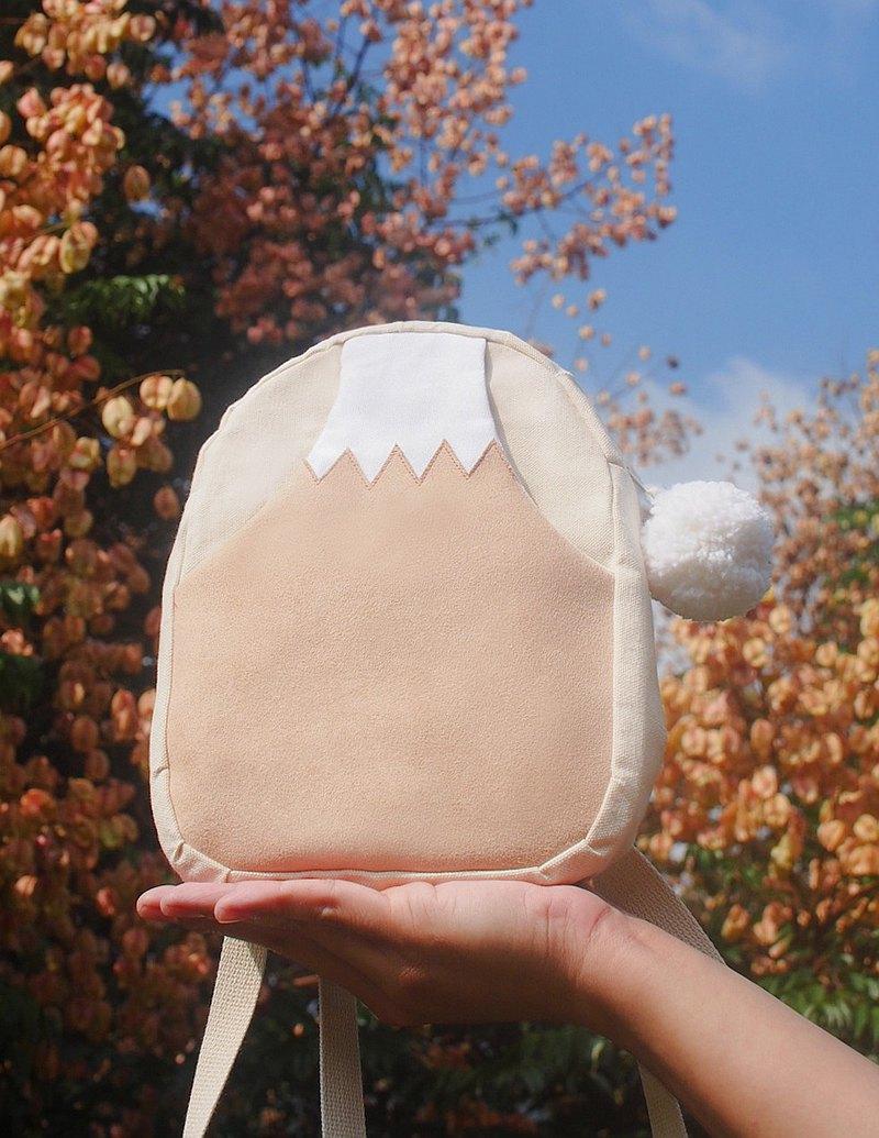 新年 開運納福 奶茶色 富士山  森林系 迷你後背包