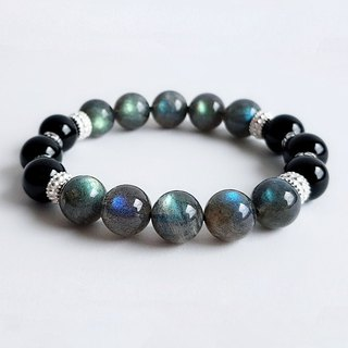 Gemstone Domino Natural Ore Labradorite Black Onyx 925 Sterling Silver Bracelet