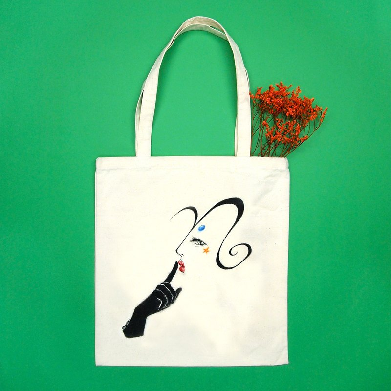 Lady A to Z Hand-drawn Tote Bag Vertical I-P