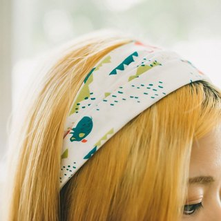 Wide Hair Bando / Trekking / Clear Red & Green