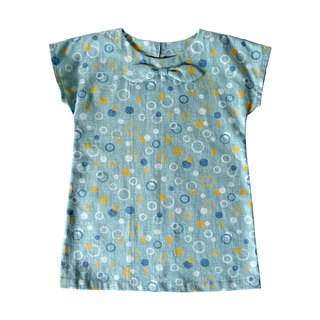 Little Girls Teal Blue Circles Print Drop Shoulder Sleeve Dress - 100% Cotton - Handmade Children's Clothes
