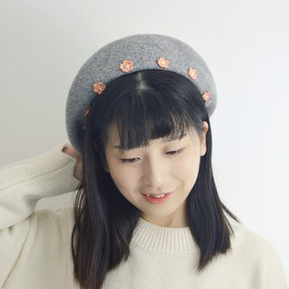 Flower beret, hair painter, hat, literary hat