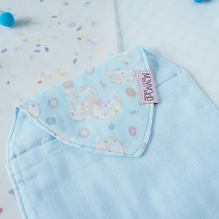 Quadruple gauze sweat towel Sky Blue Swan Pattern 1 piece