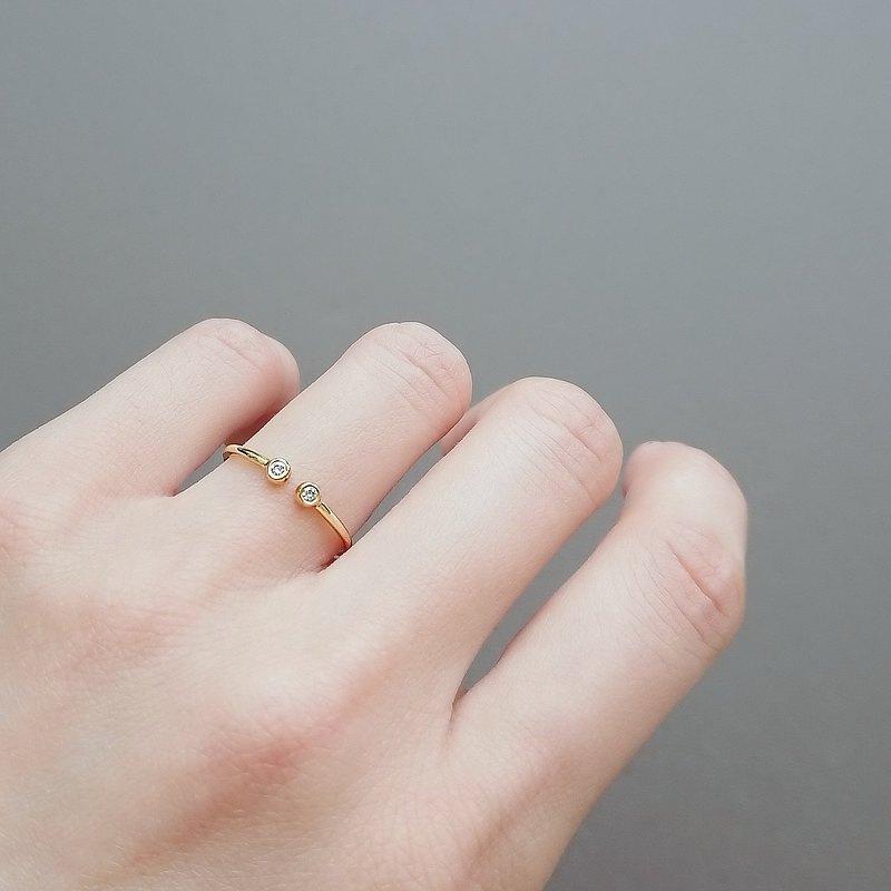 天然鑽石純 14K 金細戒 | 雙鑽可微調開口戒 | 客製手工