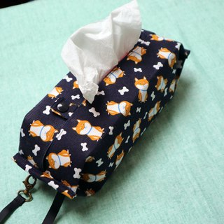Movable Hook Hangable Storage Bag Sanitary Carton Carton Camper ~ Dark Blue Shiba Inu