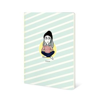 Dorothy 50 open color car suture notebook - green and white slash (9AAAU0028)