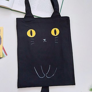 Hand-painted cat A4 tote bag / shoulder bag - black cat