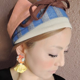 【RATA】 fine color scheme blue and pink winding type turban