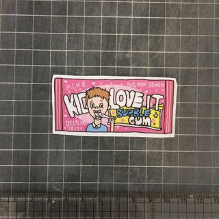 Kid pink bubble gum sticker