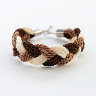 Brown/Dark brown/Cream twist-cord braided bracelet