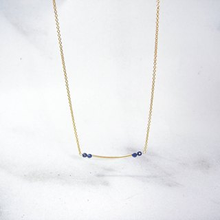 Gemini lapis lazuli 14K gold necklace / clavicle chain