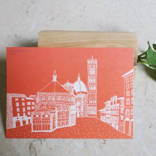 Travel landscape Italy - Florence / illustration postcard