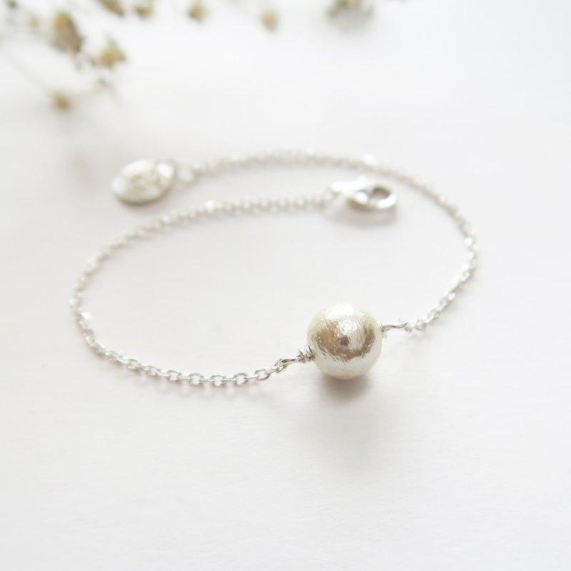 925 純銀 日本棉珍珠-客製鋼印小圓牌 手鍊