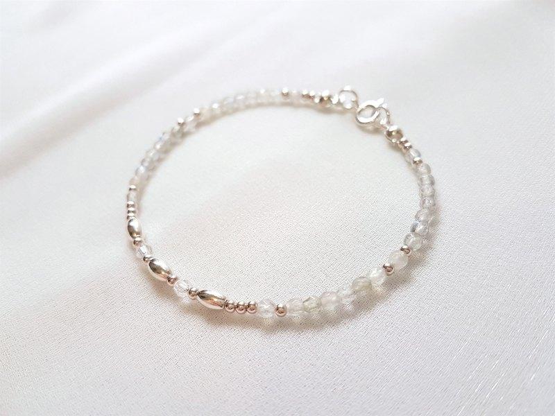 指路人 ‧ 拉長石 水晶 純銀 細手環