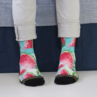 【Summer Watermelon】 / Sports / Tube Socks (Green Red)