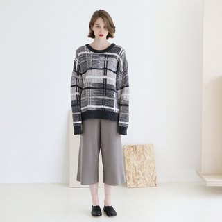 KOOW Dream Traveler Japanese Gradient Plaid Boyfriend Sweater Oversized Thick Needle Wool Couple Knit Sweater