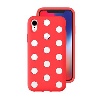 AndMesh-iPhone XR Dot Double Layer Anti-collision Cover - Bright Red (4571384958752