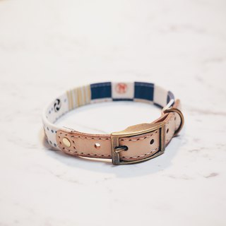 Dog collars, M size, Japanese torii, blue & white_DCT090450