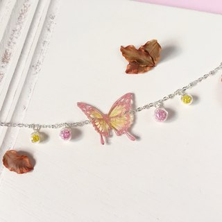 * Haku‧Neko * Pink butterfly pattern yellow hand-painted wave pattern swallowtail butterfly glass ball bracelet gift