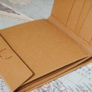 (short clip) change layer horizontal pocket pattern 4 card change wallet practical streamlined washed kraft paper