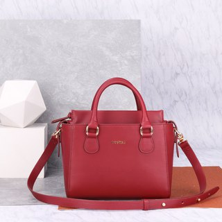 Hong Kong local design red artificial leather Petite Twin Bag double combination handbag