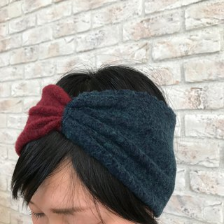 Knitted Fabric Ribbon Turban: Burgundy+Navy