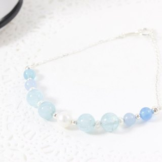 Pure peace aquamarine 925 sterling silver bracelets