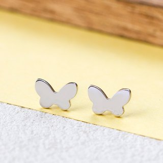 Butterfly Earring in Brass with White Gold plating