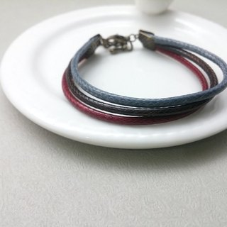 ♥ HY ♥ x handmade wax line bracelet plain simple three-wire tether red wax gray line