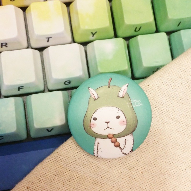 Cute grapefruit rabbit badge / big white rabbit series badge pin 32mm (single)