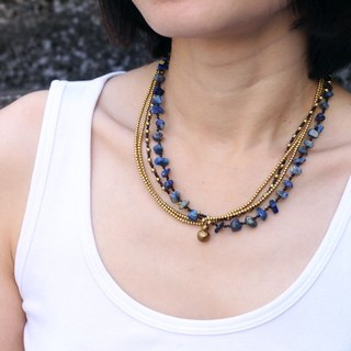 Beaded Necklaces Stone Lapis Clay Multi Strand Layer Chain Short Necklaces