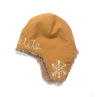Snowy Baby flight cap  Orange camel