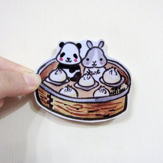 Hand drawn illustration style fully waterproof sticker rabbit panda dumpling