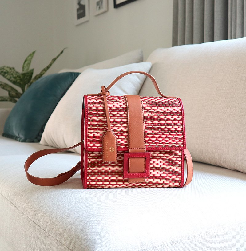 Wicker Bag in Red Handwoven Straw and Leather Summer Crossbody Bag by Chaksarn