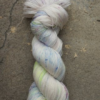 Hand dyed lace thread. Broken Ice (55 BFL/45 Silk)