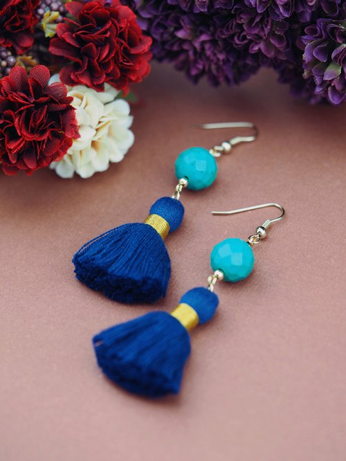 Turquoise Earrings Statement Bohemian Blue Tel