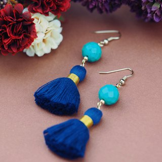 Turquoise earrings/ Statement bohemian blue tassel earrings