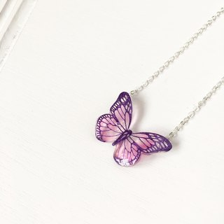 * Haku‧Neko * Hand-painted purple pattern pink color butterfly necklace