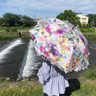 Ballett Romance Rose Print Rain and Shade Umbrella Made in Japan 99% Shading