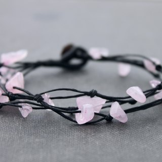 Woven Bracelets Rose Quartz Free Form Simple Strand Bracelets Black Cotton Cord