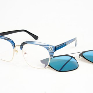BEING flat + front hanging sunglasses - blue (blue courage) / try it at home, welcome to make an appointment