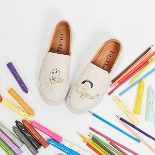 [BE WITH U] peach hand-painted leather loafers _ Tongzhen beige