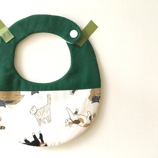 Baby bib pocket cat green