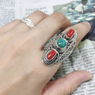 Coral and Turquoise Ring Nepali design Handmade in Nepal