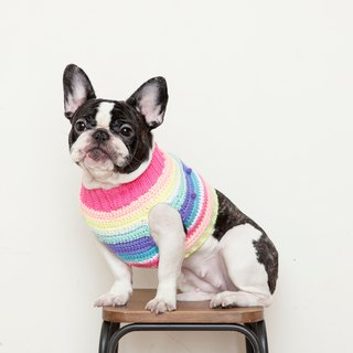 Crazy ball turtleneck sweater - pink rainbow