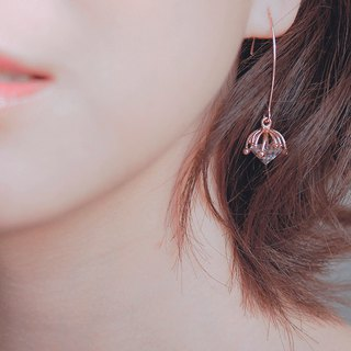 innocence series-rose gold colour dandelion seeds<once upon a time*earring>