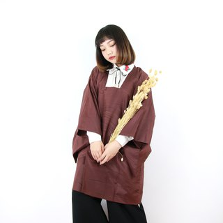 Back to Green Japanese line back dark brown vintage kimono KD-11