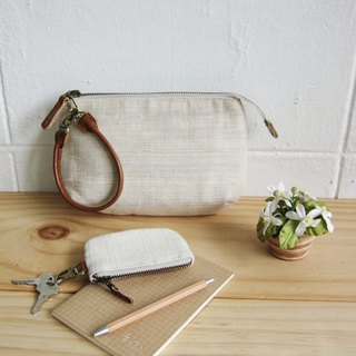 Multi-Purpose Pouch with Leather Strap Hand woven Natural Dyed Cotton Natural Color 小钱包