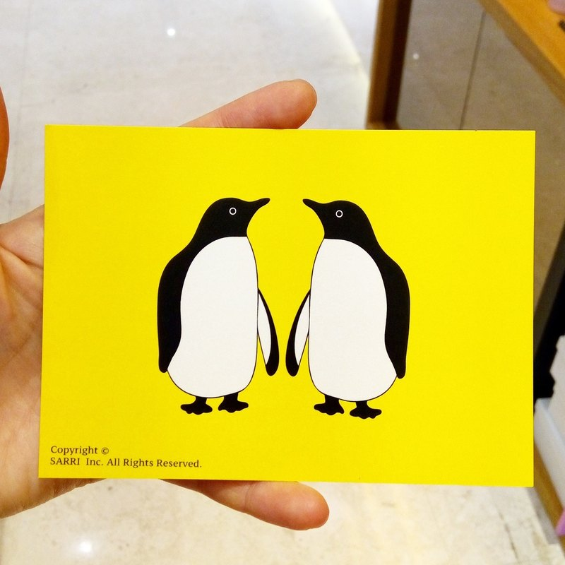 Penguin couple postcard birthday card design coloring illustration card this card universal card art fine modern lover love special fun strange weird cute taiwan yellow fun funny eye-catching tide art sequins flash cool different famous brand foreigners gi